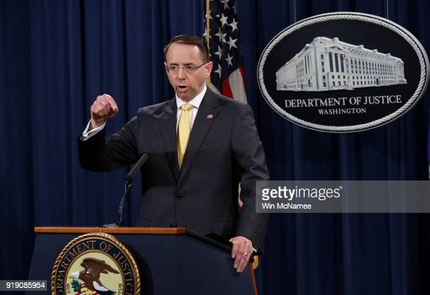 S Deputy Attorney General Rod Rosenstein announces the indictment of 13 Russian nationals and 3 Russian organizations for meddling in the 2016 US...