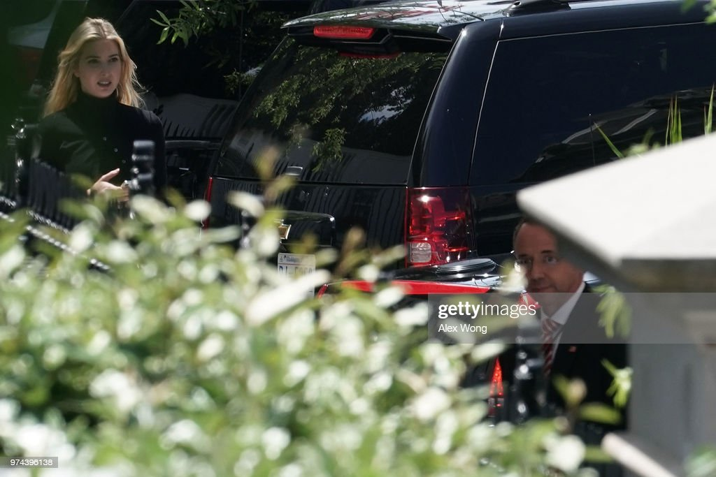 U.S. Deputy Attorney General Rod Rosenstein (R) arrives at the White House to brief President Donald Trump the Justice Department Office of Inspector General (DOJ-OIG) report as White House Senior Advisor and daughter of President Donald Trump, Ivanka Trump also arrives June 14, 2018 in Washington, DC. The highly anticipated IG report, which focus on how federal officials handled the investigation of Hillary Clinton's private email server, will be released today.