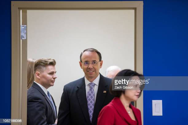 S Deputy Attorney General Rod Rosenstein arrives before speaking during a news conference on efforts to reduce transnational crime at the US...