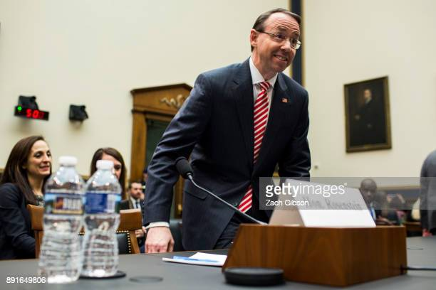 S Deputy Attorney General Rod Rosenstein arrives before testifying during a a House Judiciary Committee hearing on December 13 2017 in Washington DC