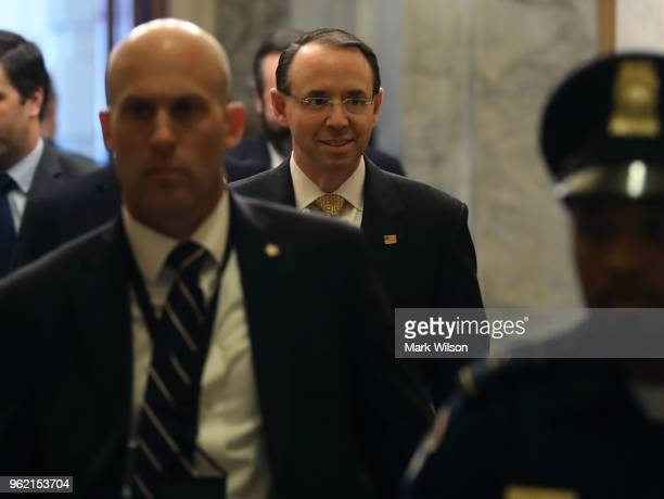 Deputy Attorney General Rod Rosenstein arrives to brief members of the socalled 'Gang of Eight' at the US Capitol May 24 2018 in Washington DC The...