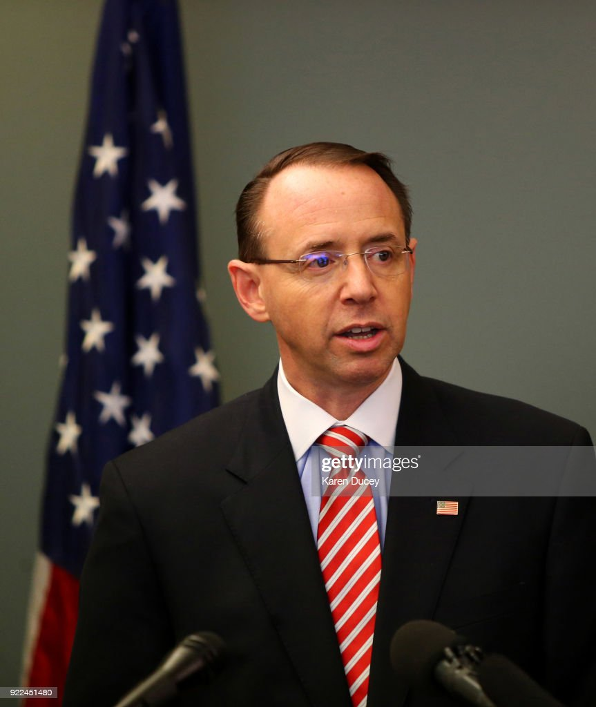 Deputy Attorney General Rod Rosenstein Holds News Conference To Update On The 2001 Murder Of Federal Prosecutor Tom Wales : News Photo