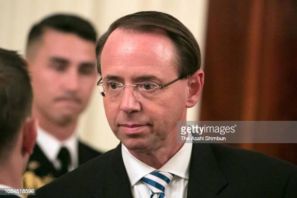 Deputy Attorney General Rod Rosenstein attends the US Supreme Court Associate Justice Brett Kavanaugh's ceremonial swearing in in the East Room of...