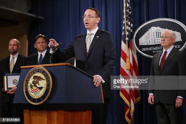 S Deputy Attorney General Rod Rosenstein Attorney General Jeff Sessions and other law enforcement officials hold a news conference to announce an...