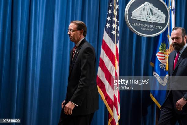 Deputy Attorney General Rod Rosenstein concludes a news conference at the Department of Justice announcing the indictment of twelve Russian nationals...