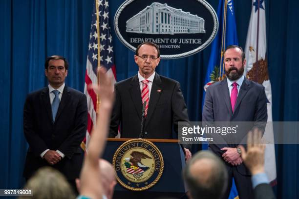 Deputy Attorney General Rod Rosenstein conducts a news conference at the Department of Justice announcing the indictment of twelve Russian nationals...