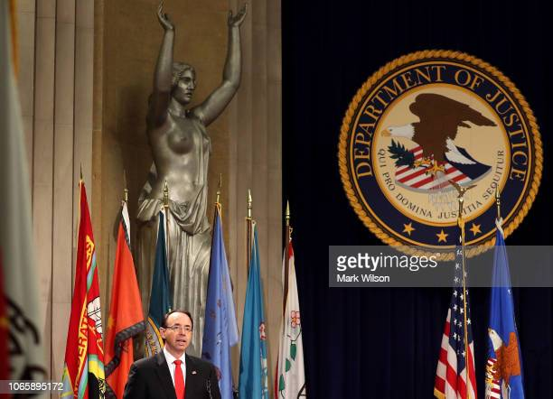 S Deputy Attorney General Rod Rosenstein delivers opening remarks at the Department of Justice's American Indian and Alaska Native Heritage Month...