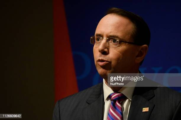 Deputy Attorney General Rod Rosenstein delivers remarks at Warton School of the University or Pennsylvania in Philadelphia PA USA on February 21 2019...