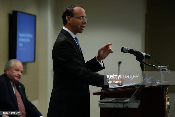 S Deputy Attorney General Rod Rosenstein delivers remarks during a law enforcement roundtable on improving the identification and reporting of hate...