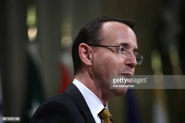 Deputy Attorney General Rod Rosenstein delivers remarks during an event marking National Missing Children's Day at the Justice Department May 24 2017...