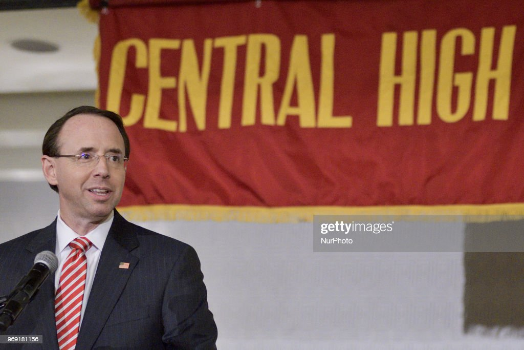 US Deputy Attorney General Rod Rosenstein delivers the keynote speech during the Central High School annual alumni dinner, in Philadelphia, PA, on June 5th, 2018. The Dep. AGs father, Bob Rosenstein, is one of the names on the long list of notable alumni that hail from Central, the second-oldest continuously public high school in the US. Rosenstein appointed special counsel Robert Mueller who currently investigates the Russia meddling into the 2016 US elections.