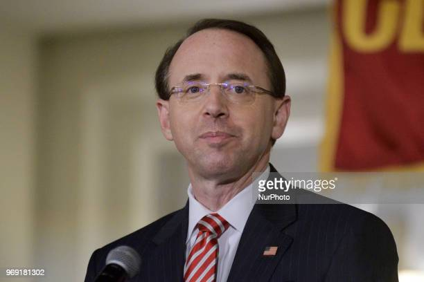US Deputy Attorney General Rod Rosenstein delivers the keynote speech during the Central High School annual alumni dinner in Philadelphia PA on June...