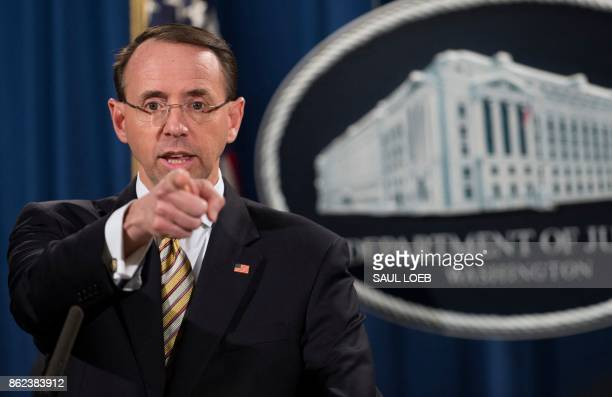 US Deputy Attorney General Rod Rosenstein gestures as he announces indictments to stop fentanyl and other opiate substances from entering the United...