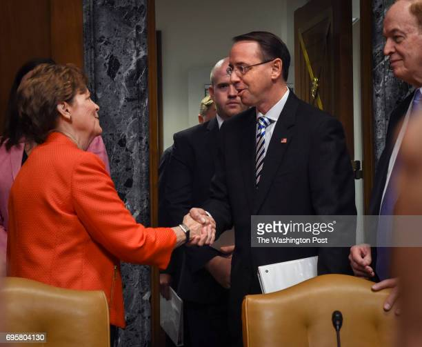Deputy Attorney General Rod Rosenstein greets Sen Jeanne Shaheen left as he arrives before his testimony to the Senate Appropriations subcommittee on...