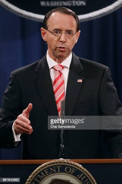 S Deputy Attorney General Rod Rosenstein holds a news conference at the Department of Justice July 13 2018 in Washington DC Rosenstein announced...