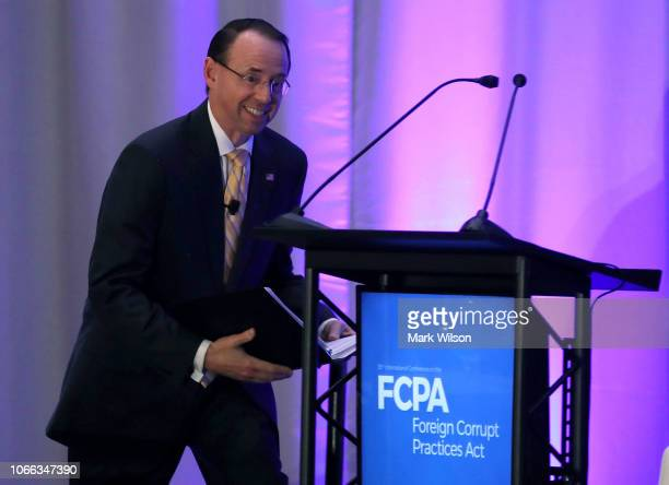Deputy Attorney General Rod Rosenstein is introduced to speak during The American Conference Institute's 35th International Conference on the Foreign...
