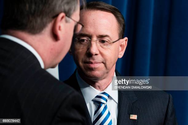 Deputy Attorney General Rod Rosenstein leaves after speaking about fentanyl at the headquarters of the Drug Enforcement Agency June 6 2017 in...