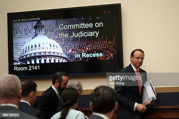 S Deputy Attorney General Rod Rosenstein leaves for a break during a hearing before the House Judiciary Committee June 28 2018 on Capitol Hill in...