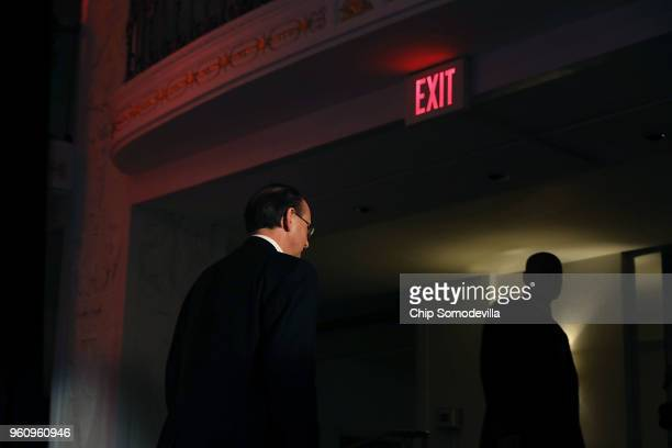 S Deputy Attorney General Rod Rosenstein leaves the stage after delivering remarks on 'Justice Department Views on Corporate Accountability' during...