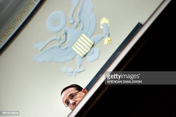 Deputy Attorney General Rod Rosenstein listens during a hearing of the House Judiciary Committee on Oversight on Capitol Hill December 13 2017 in...