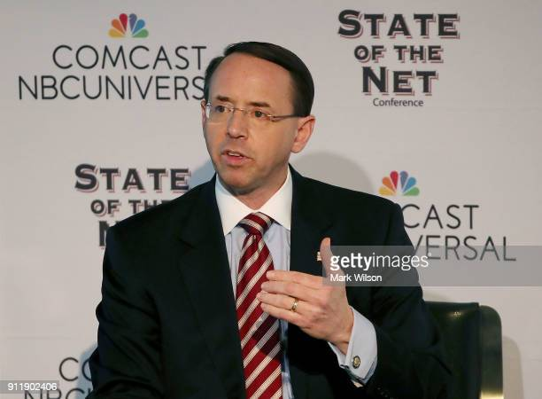 Deputy Attorney General Rod Rosenstein participates in a chat about the state of the internet hosted by The Internet Society on January 29 2018 in...