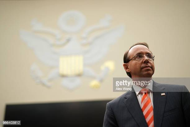 S Deputy Attorney General Rod Rosenstein returns after a break during a hearing before the House Judiciary Committee June 28 2018 on Capitol Hill in...