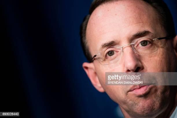 Deputy Attorney General Rod Rosenstein speaks about fentanyl at the headquarters of the Drug Enforcement Agency June 6 2017 in Arlington Virginia...