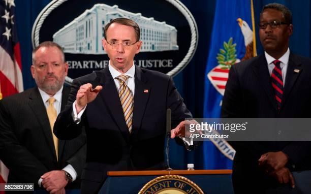 US Deputy Attorney General Rod Rosenstein speaks alongside Acting DEA Administrator Robert Patterson and Acting ICE Deputy Director Peter Edge as...