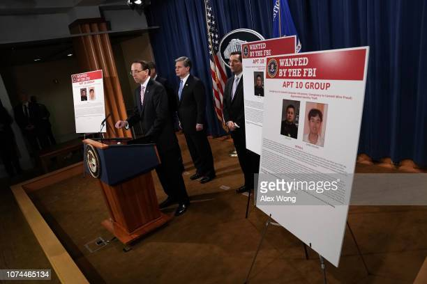 US Deputy Attorney General Rod Rosenstein speaks as FBI Director Christopher Wray and Assistant Attorney General for National Security John Demers...