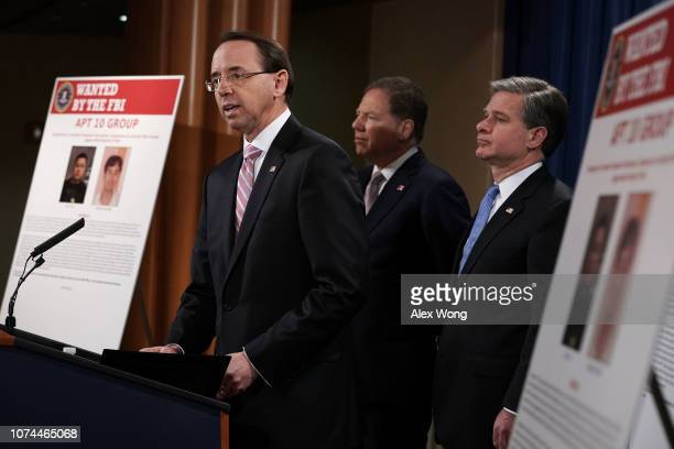 US Deputy Attorney General Rod Rosenstein speaks as US Attorney for the Southern District of New York Geoffrey Berman and FBI Director Christopher...