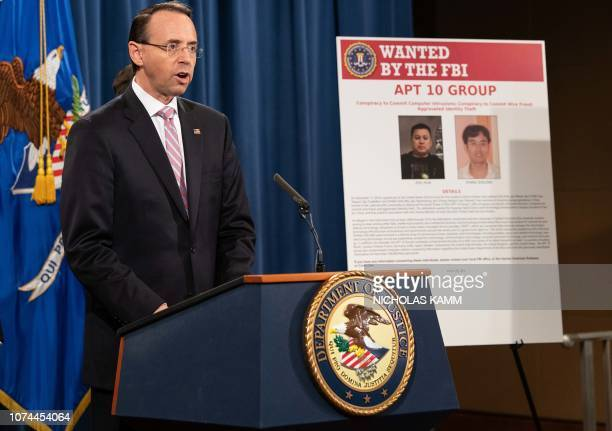 US Deputy Attorney General Rod Rosenstein speaks at a press conference about Chinese hacking at the Justice Department in Washington DC on December...