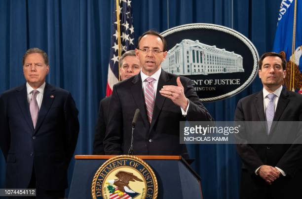 US Deputy Attorney General Rod Rosenstein speaks at a press conference about Chinese hacking with US Attorney for the Southern District of New York...