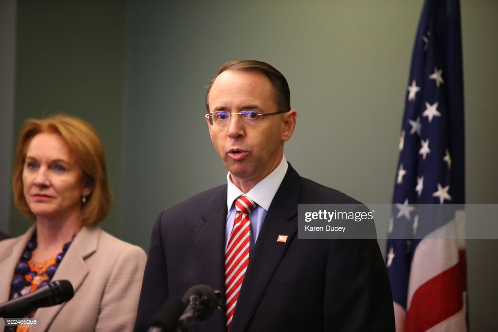 Deputy Attorney General Rod Rosenstein speaks at a press conference on the investigation into the murder of federal prosecutor Tom Wales at the U.S. Attorney's OfficeWestern District of Washington on February 21, 2018 in Seattle, Washington. Seattle Mayor and former U.S. Attorney, Jenny A. Durkan, stands behind him.