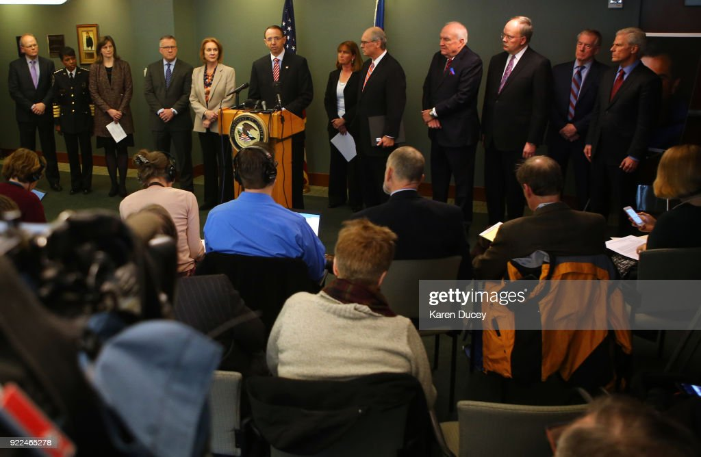 U.S. Deputy Attorney General Rod Rosenstein speaks at a press conference on the investigation into the 2001 murder of federal prosecutor Tom Wales at the U.S. Attorney's OfficeWestern District of Washingtonon February 21, 2018 in Seattle, Washington.