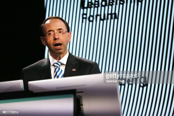 Deputy Attorney General Rod Rosenstein speaks at the Bloomberg Law Leadership Forum on May 23 2018 in New York City In a controversial move last...