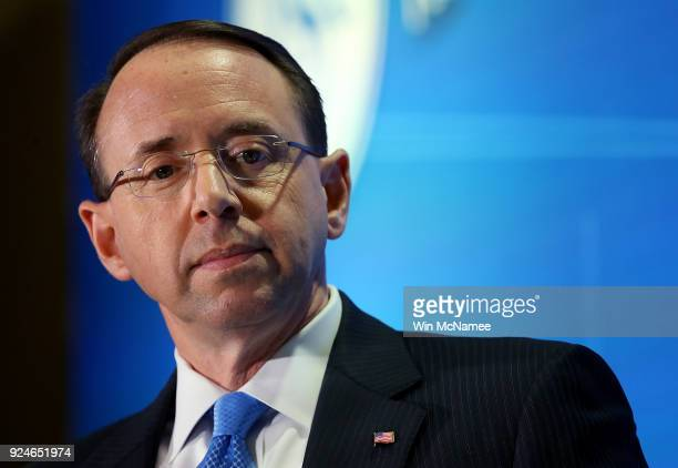 Deputy Attorney General Rod Rosenstein speaks at the Financial Services Roundtable 2018 Spring Conference February 26 2018 in Washington DC...