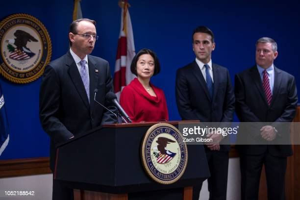 S Deputy Attorney General Rod Rosenstein speaks during a news conference on efforts to reduce transnational crime at the US Attorney's Office for the...