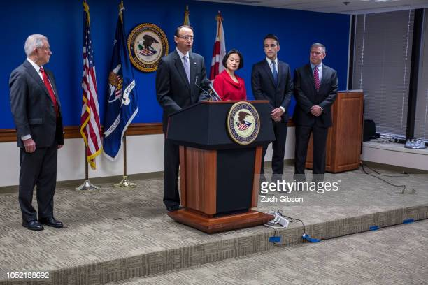 Deputy Attorney General Rod Rosenstein speaks during a news conference on efforts to reduce transnational crime at the US Attorney's Office for the...