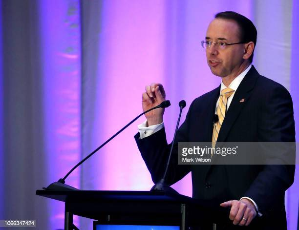Deputy Attorney General Rod Rosenstein speaks during The American Conference Institute's 35th International Conference on the Foreign Corrupt...