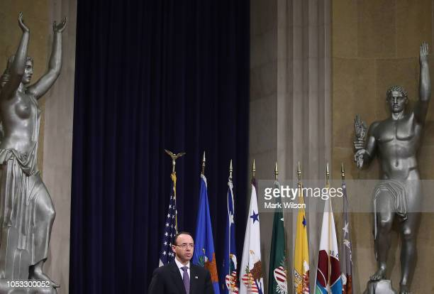 Deputy Attorney General Rod Rosenstein speaks during the first National Opioid Summit at the Justice Department on October 25 2018 in Washington DC