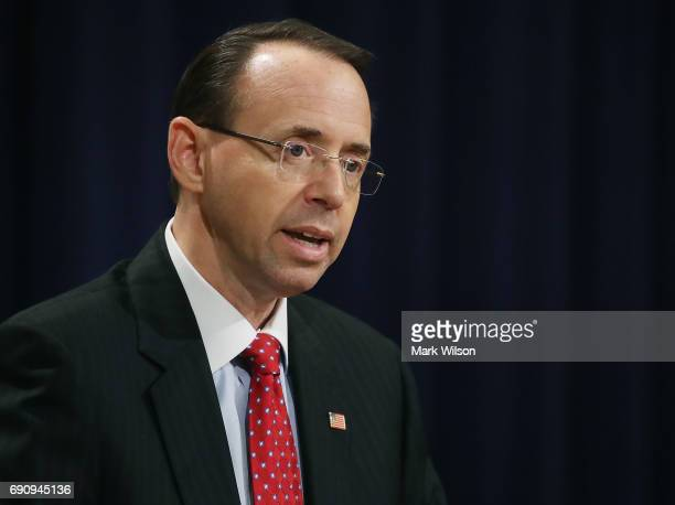 Deputy Attorney General Rod Rosenstein speaks during the Justice Department's Asian American and Pacific Islander Heritage Month Observance Program...