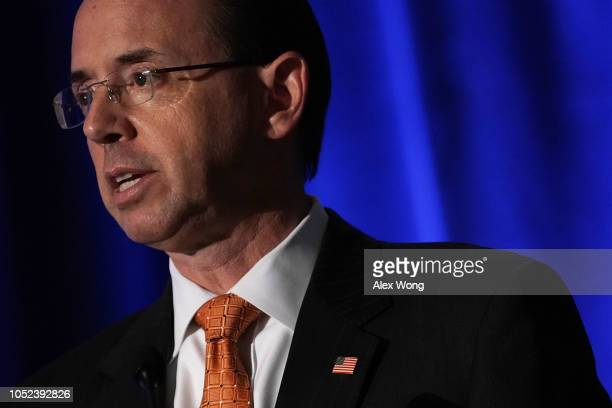 S Deputy Attorney General Rod Rosenstein speaks during the National Conference on Medicaid of America's Health Insurance Plans October 17 2018 in...