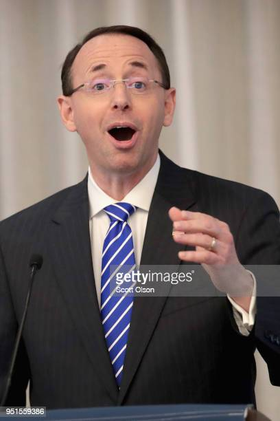 Deputy Attorney General Rod Rosenstein speaks to guests at the International Association of Defense Counsel's 2018 Corporate Counsel College on April...