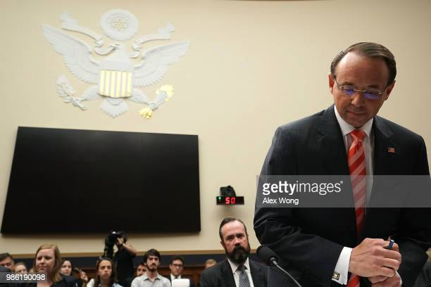 S Deputy Attorney General Rod Rosenstein takes his seat during a hearing before the House Judiciary Committee June 28 2018 on Capitol Hill in...