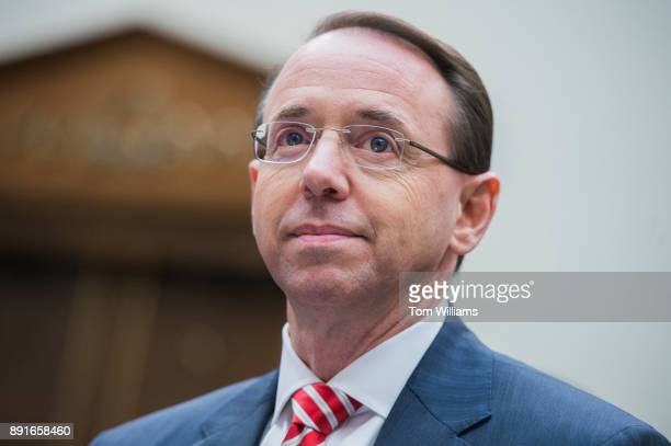 Deputy Attorney General Rod Rosenstein testifies before a House Judiciary Committee hearing in Rayburn Building on the Justice Department's...