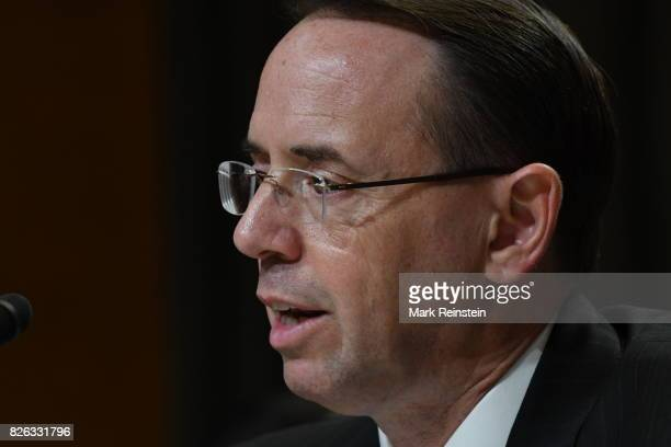 US Deputy Attorney General Rod Rosenstein testifies before the Senate Appropriations Subcommittee on Justice Washington DC June 13 2017