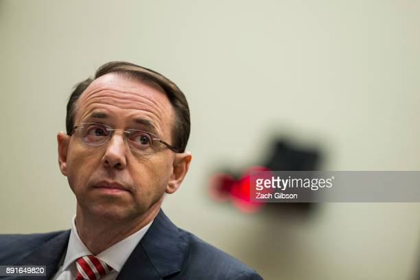 S Deputy Attorney General Rod Rosenstein testifies during a a House Judiciary Committee hearing on December 13 2017 in Washington DC
