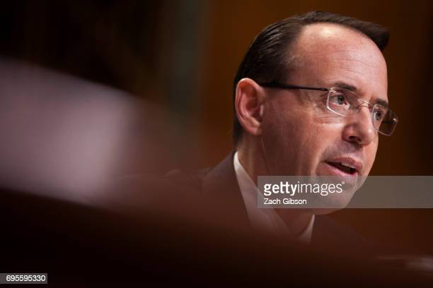 Deputy Attorney General Rod Rosenstein testifies during a Senate Commerce Justice Science and Related Agencies Subcommittee hearing on the Justice...