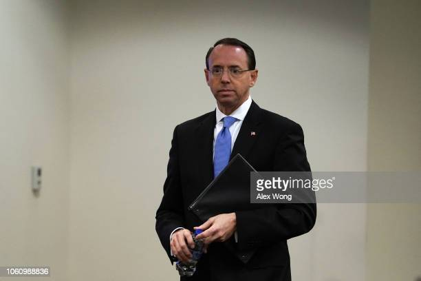 S Deputy Attorney General Rod Rosenstein waits to be introudced during a law enforcement roundtable on improving the identification and reporting of...