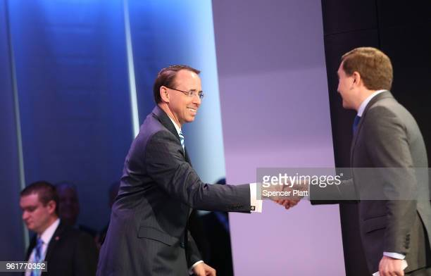 Deputy Attorney General Rod Rosenstein walks onto stage to speak at the Bloomberg Law Leadership Forum on May 23 2018 in New York City In a...